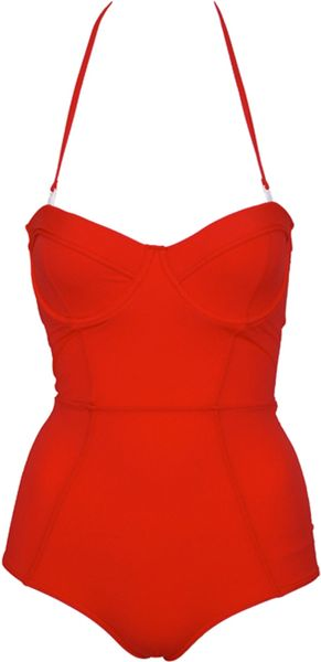 Zimmermann Thorn Corset One Piece in Red - Lyst