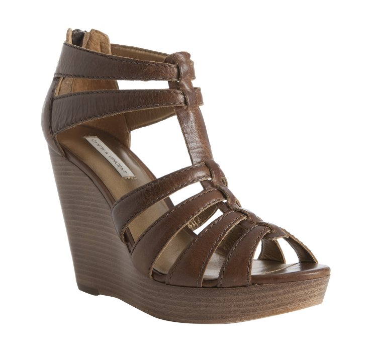 cynthia vincent cognac leather jackson wedge sandals in