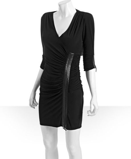 Laundry By Shelli Segal Black Ruched Jersey Zipper Detail Vneck Dress in Black - Lyst