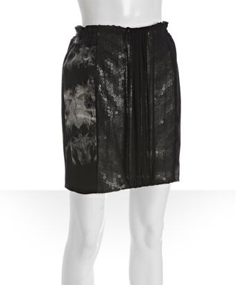 Mark + James By Badgley Mischka Black Cotton Stretch Tie Dye Combo Mini Skirt - Lyst