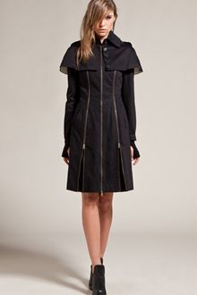 McQ by Alexander McQueen Cape Zip Coat in Black - Lyst