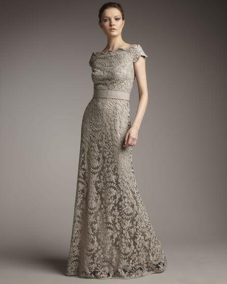 Tadashi shoji off the shoulder lace gown in gray lyst for Gray lace wedding dress