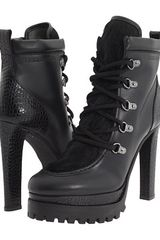 Dsquared2 high heel lace up boots in Black - Lyst
