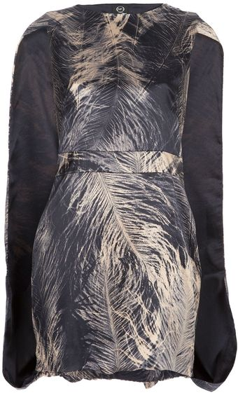 McQ by Alexander McQueen Printed Cape Back Dress - Lyst