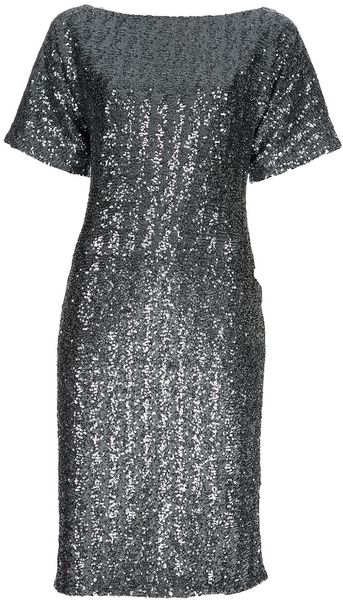 N°21 Sequin Embellished Dress in Silver (grey) - Lyst