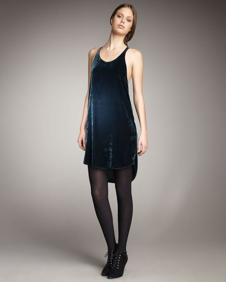 Theory Crushed Velvet Slipdress in Blue (navy) - Lyst