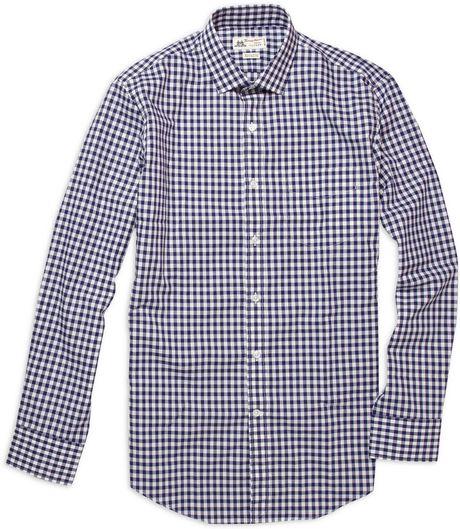 Thomas mason gingham spread collar shirt in blue for Thomas mason dress shirts