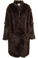 Mm6 X Opening Ceremony Faux Fur Coat in Brown - Lyst