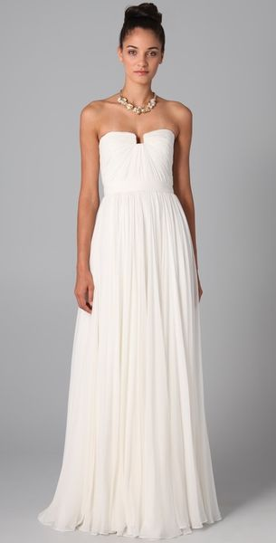 Reem Acra Flourish Gown in White (ivory) - Lyst
