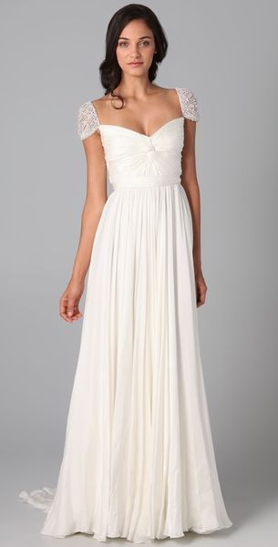 Reem Acra Twist Front Gown with Jeweled Sleeves in White (ivory) - Lyst