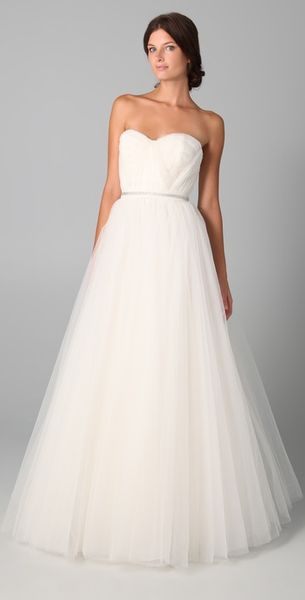 Reem Acra Virtue Gown in White (ivory) - Lyst