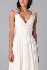Reem Acra V Neck Gown with Jeweled Straps in White (ivory) - Lyst