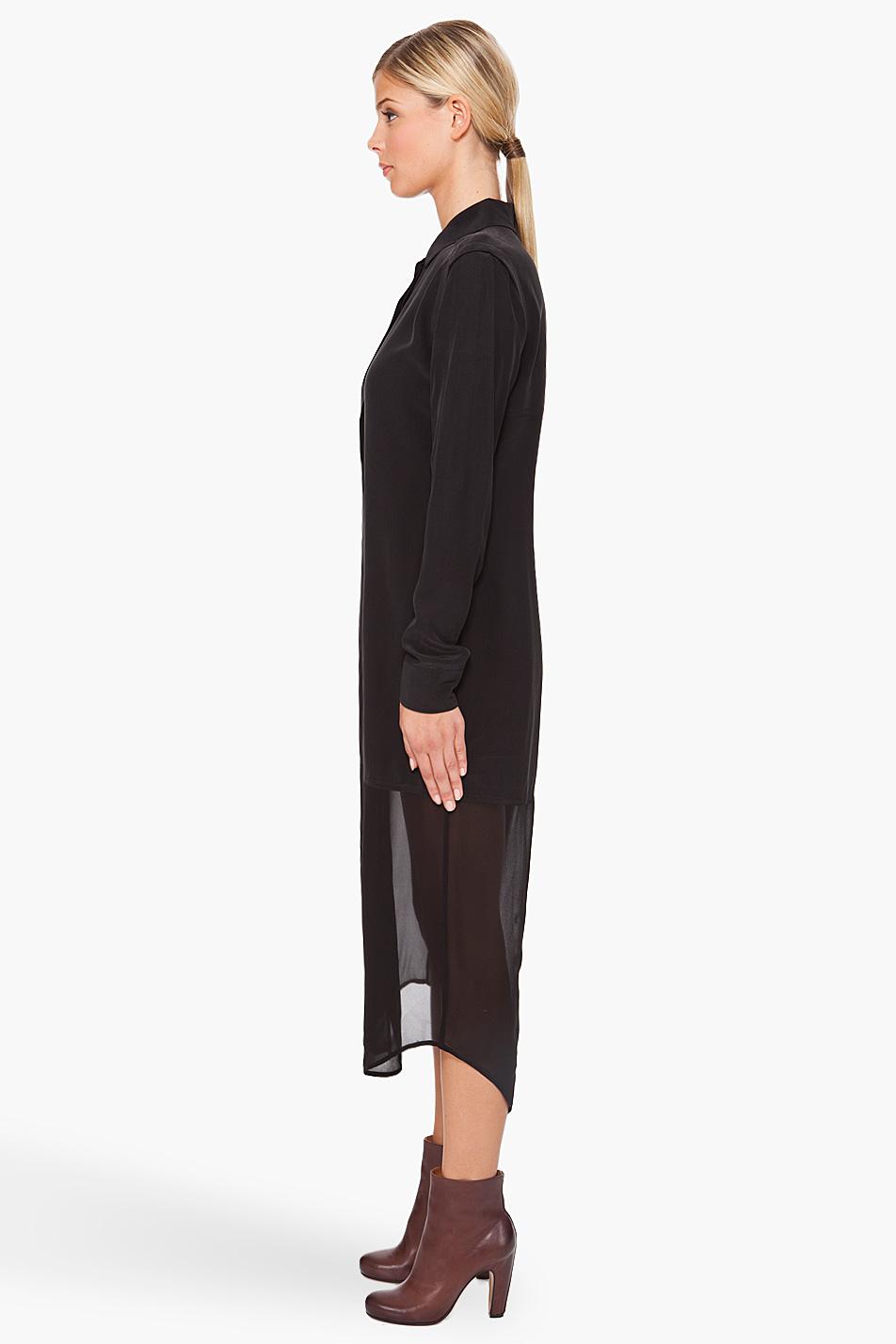 7d4f0595c868 Lyst - T By Alexander Wang Half-sheer Shirt Dress in Black