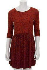 Tibi Ocelot Boatneck Dress in Cherry - Lyst