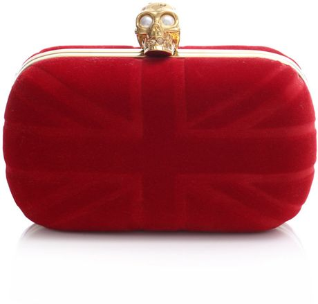 Alexander Mcqueen Velvet Britain Clutch in Red - Lyst