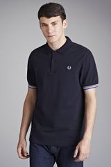Fred Perry Multi Tipped Polo Shirt Navy - Lyst