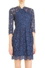 Carven Lace Dress in Blue (navy) - Lyst
