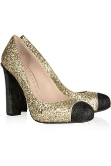 Miu Miu Glitter and Calf Hair Pumps - Lyst