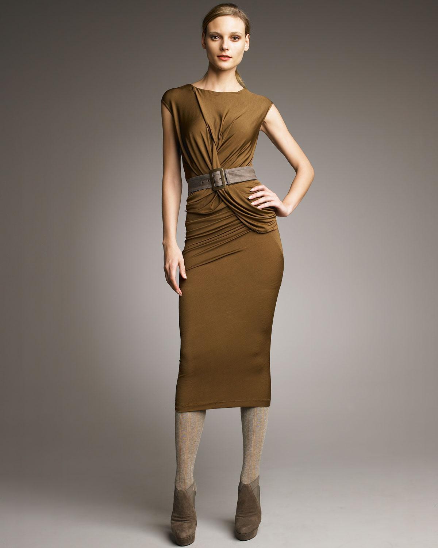 Donna Karan Draped Jersey Dress In Brown Lyst