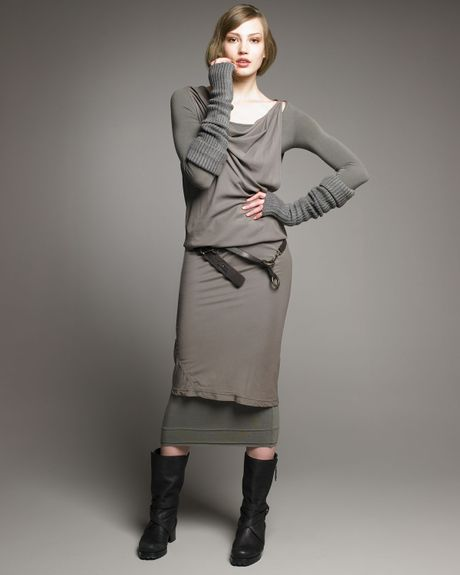 Donna Karan New York Stretch Doublelayer Dress in Gray - Lyst