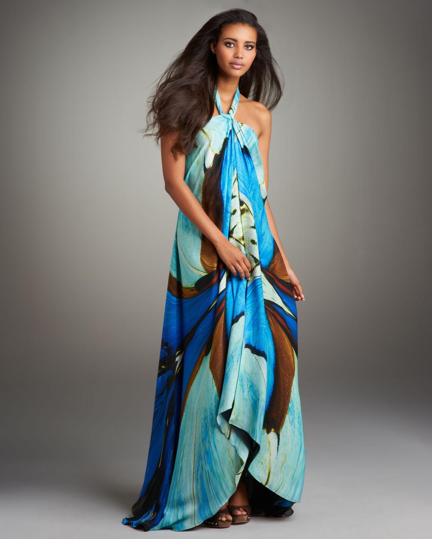 Fashion Dresses Style: Roberto Cavalli Printed Halter Maxi Dress In Blue