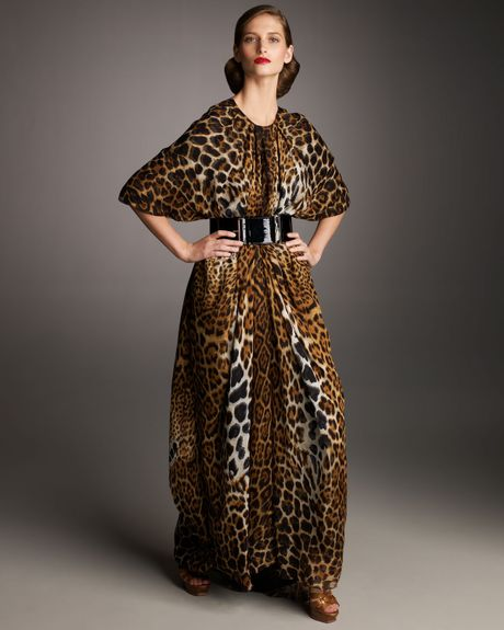 Saint Laurent Leopard Print Caftan In Animal Honey Lyst