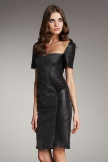 Zac Posen Leather and Tweed Panel Dress - Lyst