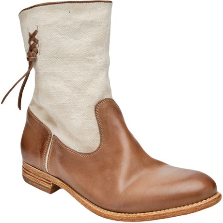ndc canvas leather boot in brown taupe lyst
