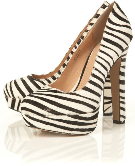 swagger zebra print brushed suede platform shoes in animal