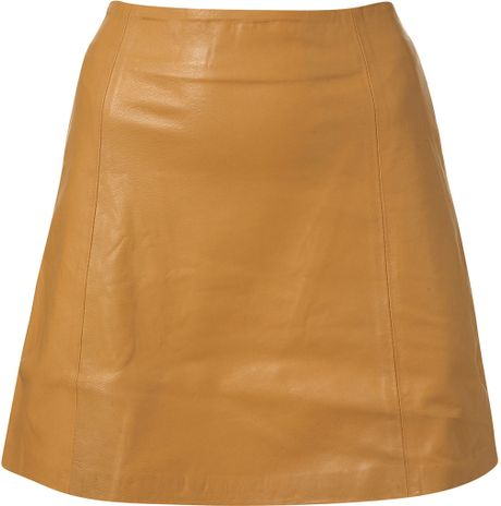 topshop camel leather a line skirt in yellow camel lyst