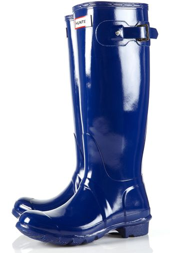 Topshop Cobalt Blue Glossy Tall Wellies By Hunter - Lyst