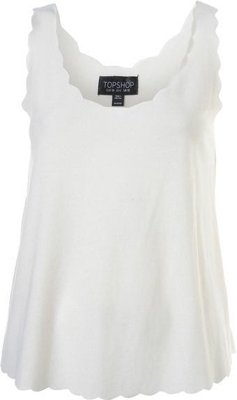 Topshop Cream Basic Scallop Vest - Lyst