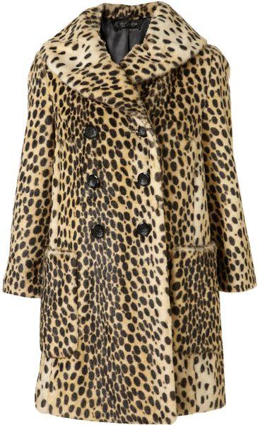 Topshop Leopard Print Vintage Faux Fur Coat In Animal