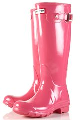 Topshop Fuschia Glossy Tall Wellies By Hunter