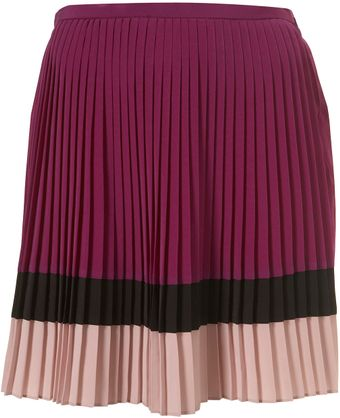 Topshop Colour Block Pleat Skirt - Lyst
