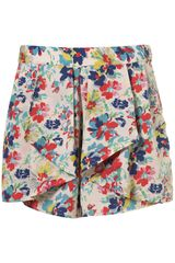 Topshop Multi Pansy Waterfall Print Shorts - Lyst