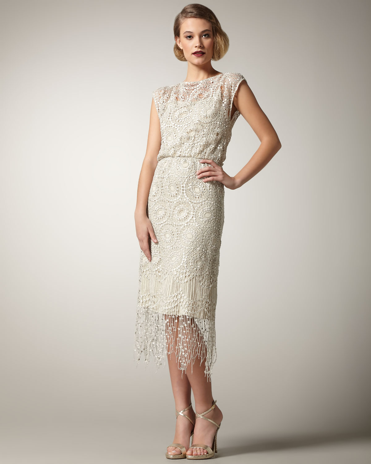 Lyst Alice Olivia Lace Fringe Dress In White