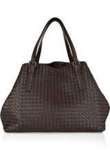 Bottega Veneta Cabas Intrecciato Leather Tote - Lyst