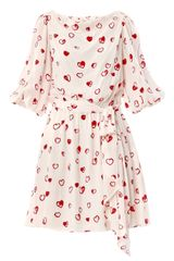 Halston Heritage Embellished Heart Print Dress - Lyst