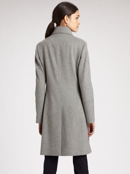 Akris Punto Double Breasted Wool Coat In Gray Silver Lyst