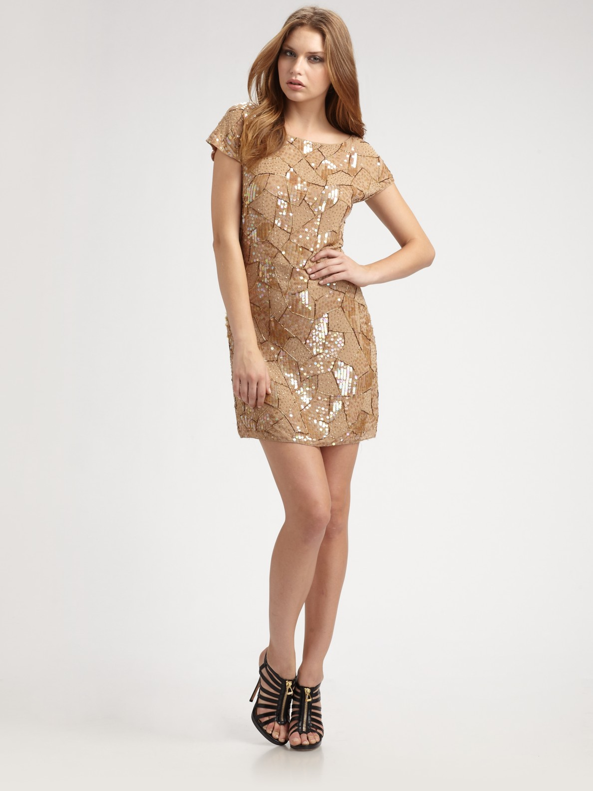 Alice   olivia Hallie Sequined Tunic Dress in Natural | Lyst