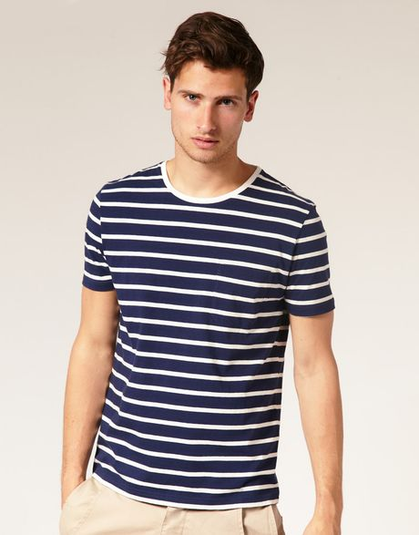 Asos Collection Asos Striped Crew Neck Tshirt with Pocket in Blue for Men (navywhite) - Lyst