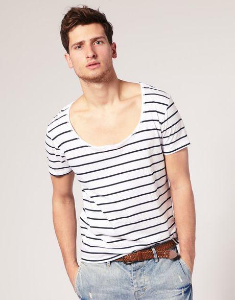 Asos collection asos stripe deep scoop neck t shirt in for Deep scoop neck t shirt