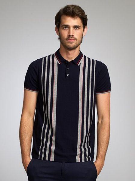ben sherman cotton stripe polo shirt navy in blue for men navy lyst. Black Bedroom Furniture Sets. Home Design Ideas
