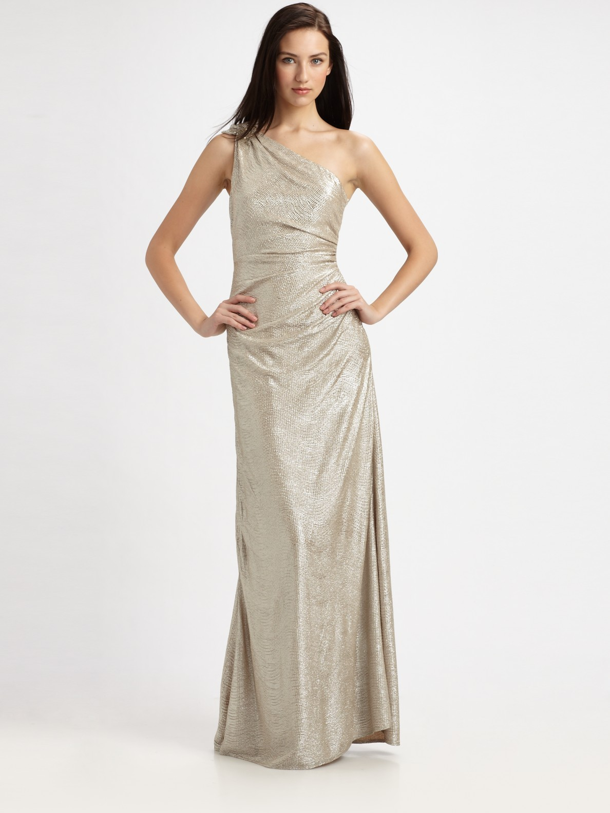 c75d2ff95402 Lyst - David Meister Matelasse One-shoulder Gown in Metallic