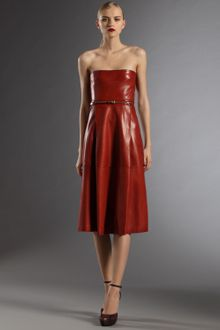 Gucci Strapless Leather Dress - Lyst