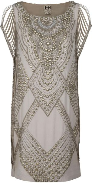 Haute Hippie Studded Dress in Beige - Lyst