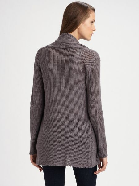 James Perse Open Stitch Drape Front Cardigan In Gray