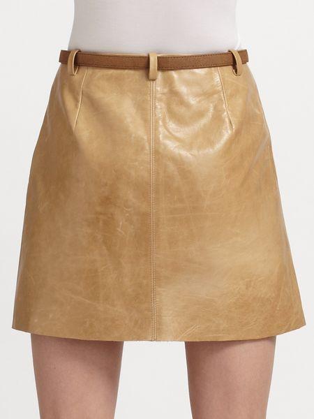 joie felicia leather skirt in beige porcelain lyst
