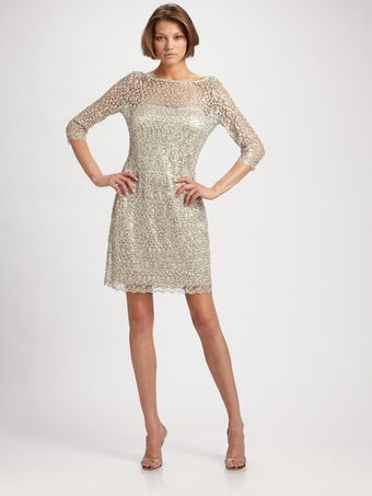 Kay Unger Beaded Lace Dress - Lyst